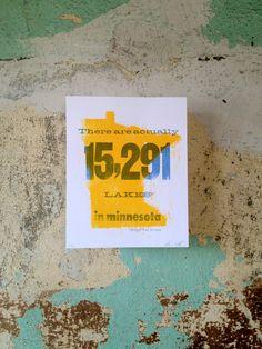 Minnesota Infographic Letterpress Poster by fontlove on Etsy, $21.00