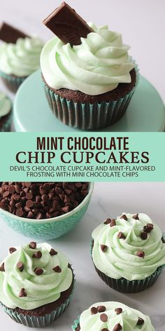 Chocolate Chip Cupcakes, Mint Chocolate Chips, Chocolate Chip Cookie Dough, Chocolate Recipes, How To Make Frosting, How To Make Cake, Baking Recipes, Cake Recipes, Drink Recipes