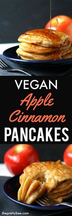 These vegan apple cinnamon pancakes are so light and delicious, just right for a weekend breakfast! These vegan apple cinnamon pancakes are so light and delicious, just right for a weekend breakfast! Vegan Keto, Vegan Foods, Vegan Dishes, Vegan Vegetarian, Vegetarian Recipes, Healthy Recipes, Vegetable Recipes, Healthy Meals, Whole Food Recipes