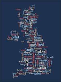 La GrandeBretagne UK plan de texte typographique de la par artPause