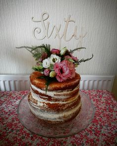 First attempt at a Naked cake! Sixtieth birthday