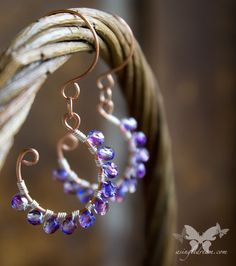 Hand crafted 3/4 copper hoops, wrapped with silver wire and variegated violet glass crystals. So pretty in the light!  Handmade copper ear wires. An excellent alternative to nickel sensitive ears!