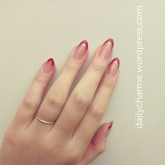 Lana Del Ray inspired red tips for stiletto nails...THIS has me wanting to go back to the pointy nails ADRIENNE!!!!!!!!! Lol maybe just short how i wanted them in the first place lol
