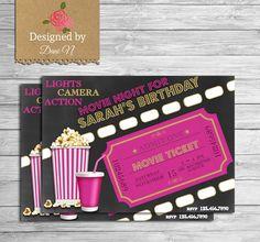 New to DesignedbyDaniN on Etsy: Movie birthday invitation movie night party invite outdoor printable movie birthday party popcorn and soda invite movie pink girl invite (15.00 USD)
