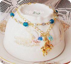 """I was dreaming about Wonderland"" vintage style bracelet, fairytale unicorn inspired.  by PetiteFraise Handmade"