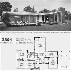 "1960 Better Homes & Gardens Five Star Homes, Design No. 2804. California style modern houses were all about the floor plan and informal living. This house plan has three bedrooms and two baths, and is planned around the ""zone"" concept of separating living and private quarters."