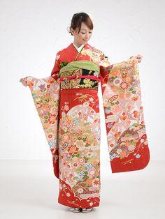 auspicious pattern, long-sleeved kimono