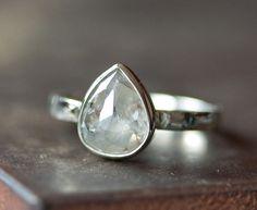 Silver-White Diamond Ring in 14kt White Gold