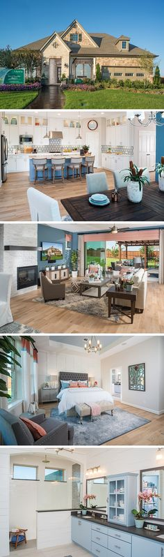 A soft, pale palette feels fresh and welcoming. The Sheppard features a bright and open ktichen with unique backsplash and a beautiful blue island. In the Prosper, TX community, Lilyana, enjoy acres of green space and resort -style amenities. #davidweekleyhomes #design #lightblue #brightcolor #dallas