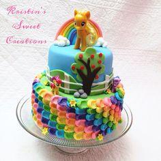 My Little Pony rainbow cake with Apple Jack www.facebook.com/KristinsSweetCreations