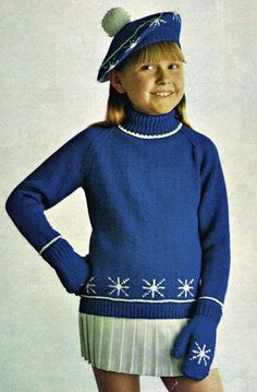 Vintage knitting pattern-christmas snowflake jumper,hat,mitt-DK.