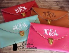 Monogrammed Scalloped Clutch Purse, Personalized Clutch, Crossbody Purse, Clutch, Birthday Gift, Bridesmaid Gift, Womens Accessories by CreationsSewFabulous on Etsy https://www.etsy.com/listing/221331669/monogrammed-scalloped-clutch-purse