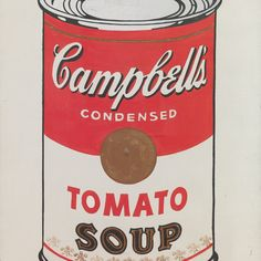 Andy Warhol (American, 1928–1987). Campbell's Soup Cans (detail). 1962. Synthetic polymer paint on 32 canvases, each 20 x 16″ (50.8 x 40.6 cm). The Museum of Modern Art, New York. Partial gift of Irving Blum. Additional funding provided by Nelson A. Rockefeller Bequest, gift of Mr. and Mrs. William A.M. Burden, Abby Aldrich Rockefeller Fund, gift of Nina and Gordon Bunshaft in honor of Henry Moore, Lillie P. Bliss Bequest, Philip Johnson Fund, Frances R. Keech Bequest, gift of Mrs. Bliss…
