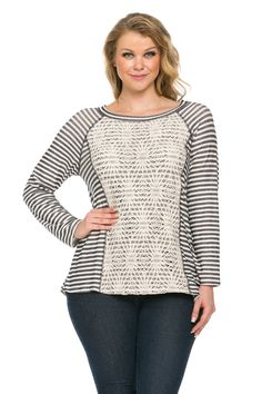 Floral Lace And Stripes Layered Plus Size Top Navy Off White