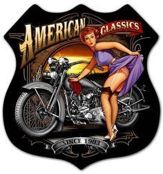 Vintage and Retro Wall Decor - JackandFriends.com - Retro American Classics Shield - Pin-Up Girl Metal Sign, $47.97 (http://www.jackandfriends.com/retro-american-classics-shield-tin-sign/)