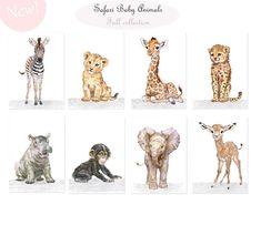 ♡ afdrukken van mijn lieve kleine baby dieren collection♡ Safari dieren set van 6 / Unframed kunst wordt afgedrukt. Zebra, Giraffe, Cheetah, Leeuw, olifant, nijlpaard. Als u zou willen om het even welk van de dieren in deze set te ruilen voor een ander stuk in Safari Baby Animals