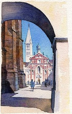 st. george's - prague by Thomas  W. Schaller Watercolor ~ 11 inches x 7 inches