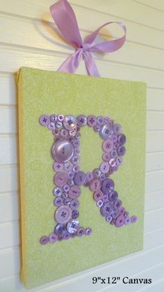 Baby Nursery Button Monogram Wall Art by letterperfectdesigns