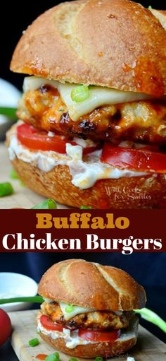 Juicy chicken burger cooked in buffalo wing sauce and ma… Buffalo Chicken Burger. Juicy chicken burger cooked in buffalo wing sauce and made with ranch dressing, blue cheese crumbles, Mozzarella cheese, and veggies. Ground Chicken Burgers, Buffalo Chicken Burgers, Buffalo Chicken Sandwiches, Buffalo Chicken Recipes, Chicken Sandwich Recipes, Chicken Burgers Healthy, Grilled Buffalo Chicken, Buffalo Chicken Wraps, Grilled Chicken Sandwiches