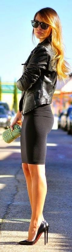 Street style | Edgy black leather jacket, pencil skirt, Louboutins | Latest fashion trends