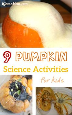 9 Pumpkins science activities for kids -- great fall STEM activities for school science class, homeschool, or after school projects.