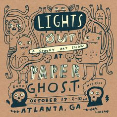 a limited edition risograph flyer for the Paper Ghost in Atlanta