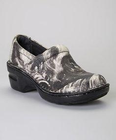 Look at this #zulilyfind! Black Art Deco Peggy Leather Clog #zulilyfinds