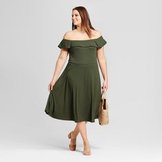 Women's Plus Size Rib Bardot Dress - Who What Wear Olive (Green) 3X