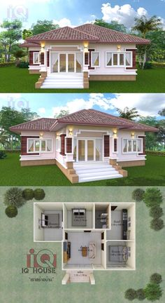 This contemporary bungalow with three bedrooms is a head-turner! Simple Bungalow House Designs, Modern Small House Design, Modern Bungalow House, Simple House Design, Bungalow House Plans, Little House Plans, My House Plans, House Layout Plans, House Layouts