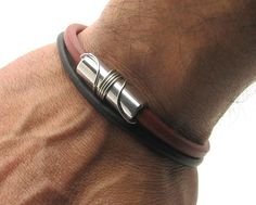 EXPRESS SHIPPING Men's Bracelet. Men Leather Bracelet Brown and red Men leather…
