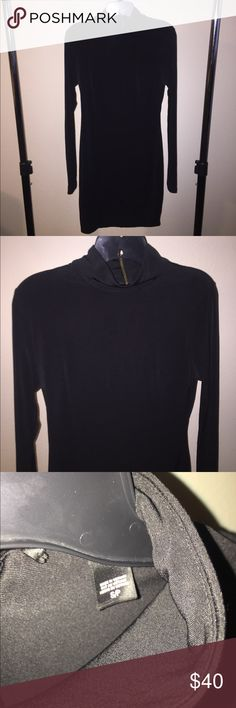 Victoria Secret Mock Neck Long Sleeve Black Dress Sleek and stretchy material.  Zipper at the back of the neck.   A relaxed slim fit.  Tag says Moda International which is Victoria's Secret clothing brand.  Never even tried on. Victoria's Secret Dresses Long Sleeve