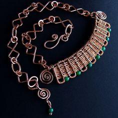 Inca - HandWoven Copper Jade Set Handmade Chain