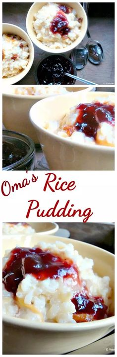Easy Rice Pudding - An easy recipe and oh so good! Delicious served warm from the oven with a sprinkle of nutmeg or a blob of jam! Tolle Desserts, Köstliche Desserts, Great Desserts, Delicious Desserts, Dessert Recipes, Yummy Food, Easy Rice Pudding, Rice Pudding Recipes, Rice Puddings