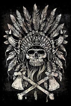 Would be a cool tattoo. Native Headdress Art Print by Derrick Castle