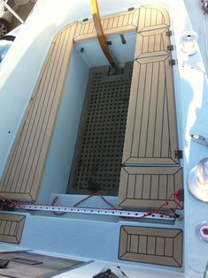 synthetic stair treads composite material for boat floors replacing Plastic Decking, Sailboat Interior, Wpc Decking, Trust Company, Composite Material, Inside Outside, Stair Treads, Shanghai, Teak