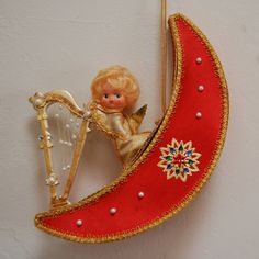 1960s Angel On Moon Music Box Doll Japan Xmas by FeraliaVintage, $28.00