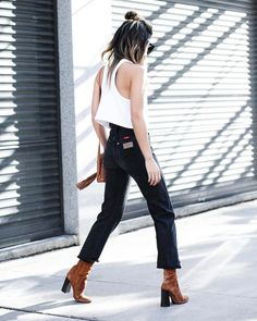 Jeans: hun tumblr black cropped bootcut cropped boots brown boots high heels boots suede suede boots
