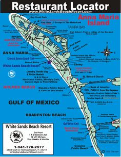 Florida Suncoast Realtors realtors help real estate search buyers buy a second home or buy a home and foreign nationals real estate in Pinellas county, Florida realty. 727-777-0534. Anna Maria Island, Florida Restaurant Map - We're going to want to look at this in May!