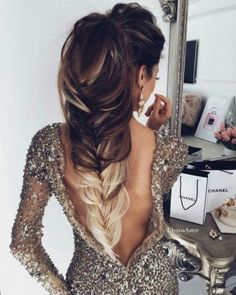 long hairstyle + ponytail + chic dress / #beauty #hairstyles #makeup