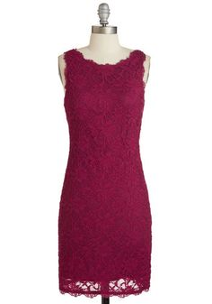 Just Enchant Help It Dress - Mid-length, Knit, Lace, Solid, Scallops, Girls Night Out, Valentine's, Sheath, Sleeveless, Better, Red
