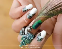Acrylic Nails Feather Design