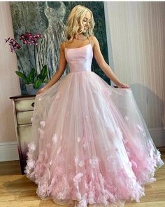 Pink tulle applique long prom dress, pink tulle evening dress,school event dress,evening dress · Grace Girls Dress · Online Store Powered by Storenvy Prom Dresses Long Pink, Straps Prom Dresses, Pretty Prom Dresses, Flower Dresses, Elegant Dresses, Homecoming Dresses, Beautiful Dresses, Sexy Dresses, Dress Prom