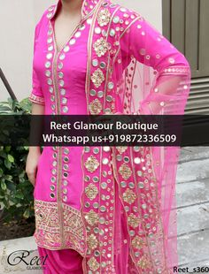 Attractive Magenta Embroidered Punjabi Suit Product Code: To order this dress , please call or WhatsApp us at We can design this Punjabi Suit in any color combination or on any fabric (price may vary according to fabric) Punjabi Salwar Suits, Designer Punjabi Suits, Punjabi Dress, Indian Designer Wear, Anarkali Suits, Patiala, Indian Suits, Indian Attire, Indian Wear