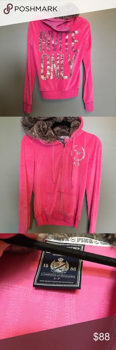 VS PINK Hoodie Very lightly worn zip up. Faux fur inside hood so cozy and warm. Size small I'm having a hard time letting it go.. lol but I never wear it so it's someone else's turn to love it. Lowest price! PINK Victoria's Secret Jackets & Coats