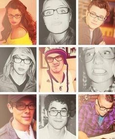 Glee cast with glasses