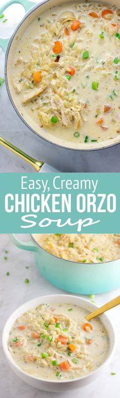 Creamy Chicken Orzo Soup: This amazing soup is an easy and flavorful take on of the classic chicken noodle soup! It's sure to be a new family favorite! via @Rachael Yerkes