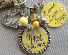 Nana gift, Grandmother, Aunt, Mom, Year Established Keychain -Personalized Children Names-- Nana, Godmother, Mom - Heart Charm, loves nana