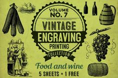 Food and wine   BONUS Graphics **VINTAGE ENGRAVING PRINTING COLLECTION / MADE IN FRANCE !**- This collection consists of various v by Benjamin Babron's stall