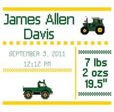 Tractor Cross Stitch Birth Announcement by AWishandAStitch on Etsy, $9.50