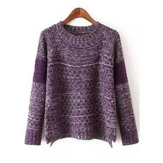 Women Dip Hem Purple Sweater (€13) ❤ liked on Polyvore featuring tops, sweaters, purple, purple sweater, pullover sweater, purple top, long sleeve pullover sweater and loose fit tops